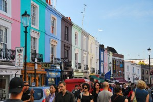 People shopping at Portobello road in Notting Hill london
